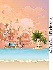 chalutier, bateau pêche, aube