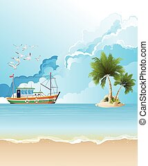 chalutier, bateau, peche