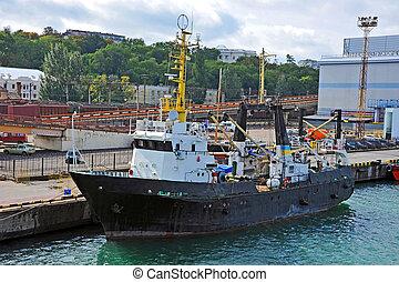 chalutier, port, bateau