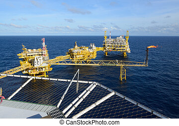 chama, óleo, gás, offshore, guarneça