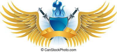 chama azul, escudo, crista