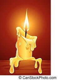 chama, de, queimadura, vela, com, gotejando, cera