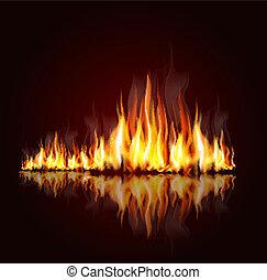 chama, fundo, queimadura