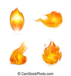 chama, vetorial, ícone