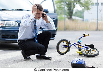 chamada ajuda, após, acidente carro