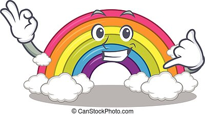 chamada, arco íris, desenho, engraçado, mim, gesto, caricatura