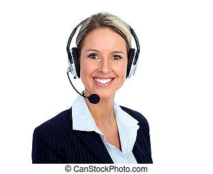 chamada, cliente, centro, operador, woman.