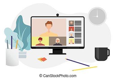 chamada, conferência, vídeo