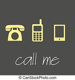 chamada, mim, com, vário, telefone, símbolos, simples, bandeira, eps10