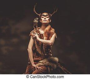 chaman, vêtement, femme, faucon, rituel