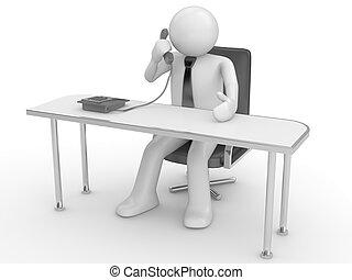 chamando, local trabalho, homem