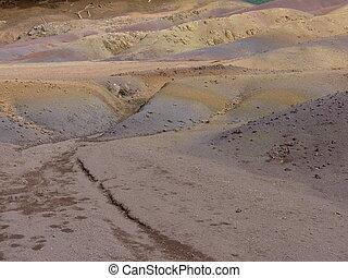 chamarel, sete, colorido, terras
