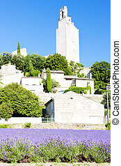 Chamaret with lavender field, Drome Department, Rhone-Alpes,...