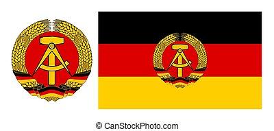 chamarra, bandera, este, alemania, brazos