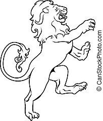 chamarra, heráldico, brazos, león
