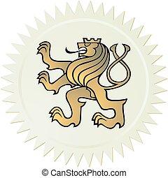 chamarra, león, brazos