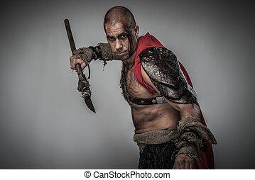 chamarra, rojo, gladiator, lanza, herido