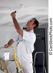 chamarra, techo, rodillo, pintor, utilizar