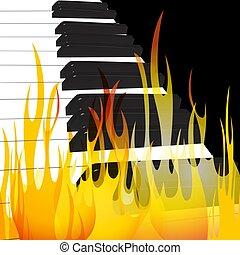 chamas, abstratos, ilustração, vetorial, chama, fundo, fluir, piano, original