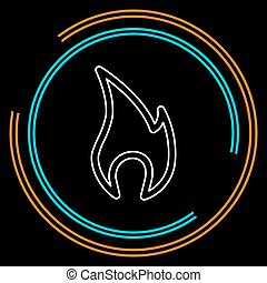 chamas, fogo, isolado, ilustração, sinal, vetorial