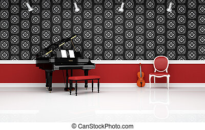 chamber music - grand- piano violin and red chair in a...