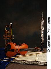 chamber music - trumpet, violin, music, manuscript, oboe,...