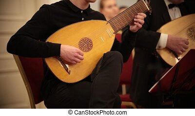 Chamber orchestra. A man sitting on a chair and playing lute...