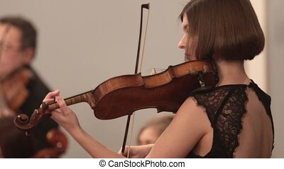Chamber orchestra. A young woman concentrated playing violin...