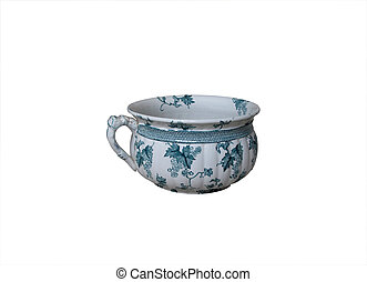 Chamber pot - An old chamber pot with floral design isolated...