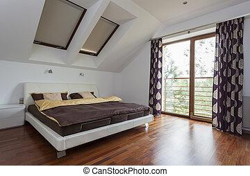 chambre à coucher, à, balcon
