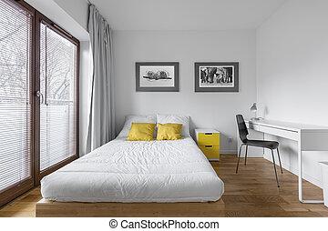 Bureau moderne lit rendre chambre à coucher 3d. double