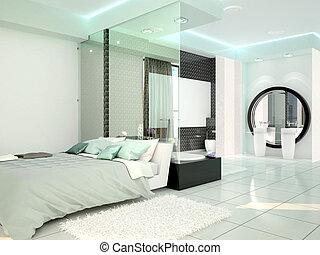 chambre coucher salle bains dans a moderne technologie