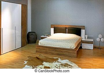 chambre à coucher, 2, gris