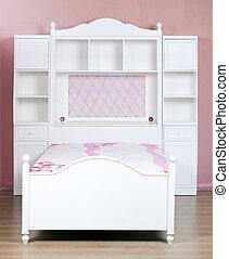 chambre à coucher, bois, suite, blanc