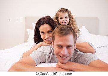 chambre à coucher, famille, dépenser, temps, espiègle