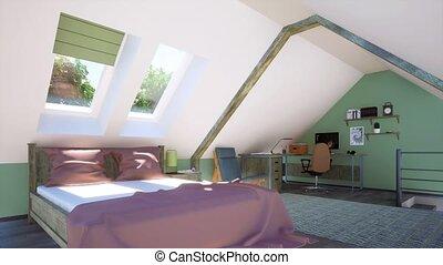 chambre à coucher, grenier, lit, bureau maison, double