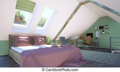 chambre à coucher, intérieur, grenier, lit, bureau maison
