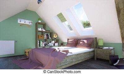 chambre à coucher, intérieur, grenier, moderne, lit, double