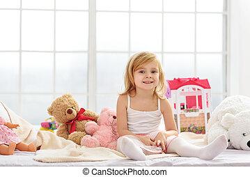 chambre à coucher, jouer, joyeux, enfant femelle