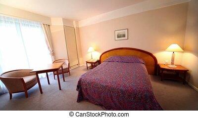 chambre à coucher, lit, côté, lampes, chaque, paire, table,...