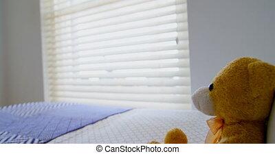 chambre à coucher, lit, teddy, maison, 4k, ours