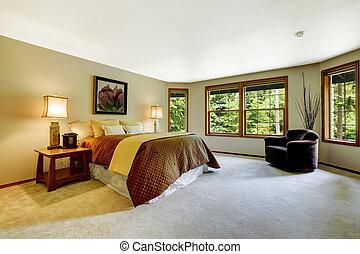 chambre à coucher, maître, spacieux, lit, confortable