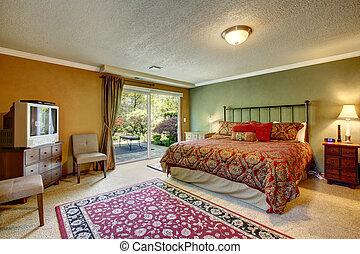 chambre à coucher, vieux façonné, walkout, pont