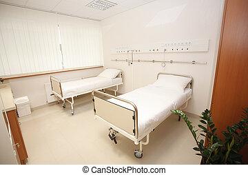 Chambre hôpital. Bouchon, articulé, salle, hôpital, moderne ...