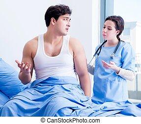 chambre hôpital, visiter, docteur, patient