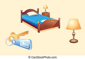 chambre hôtel, objets