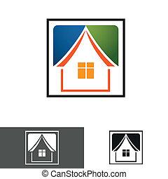 chambre maison, logo, icône