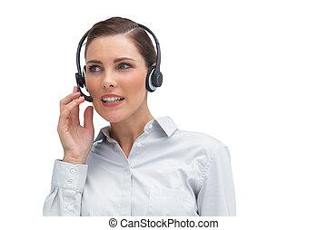 chame centro, agente, headset desgastando
