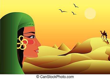 chameau, jeune, désert, regarde, girl, cavalier