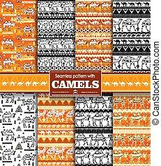 chameaux, seamless, modèle, ensemble